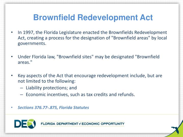 Brownfield redevelopment act