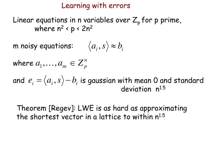 Learning with errors