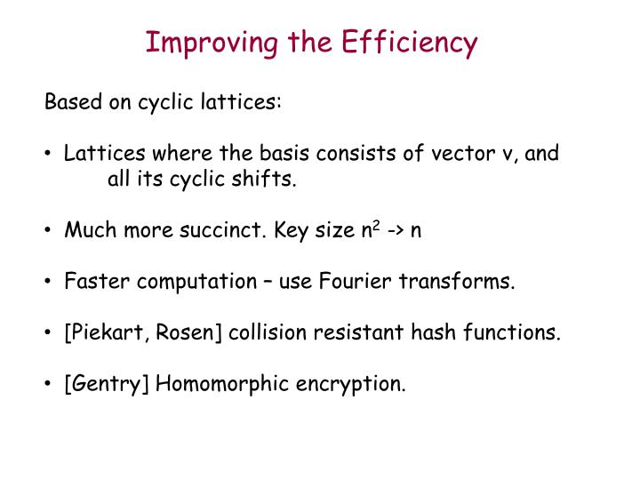 Improving the Efficiency