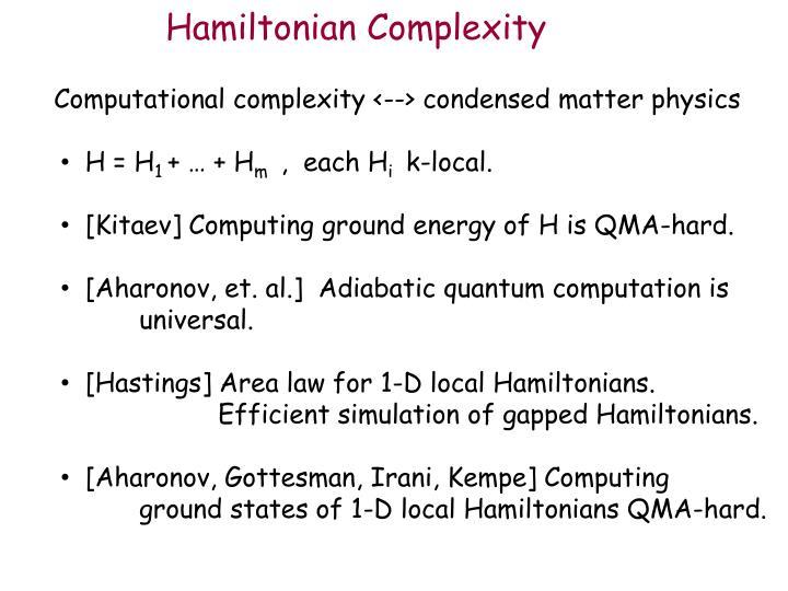 Hamiltonian Complexity