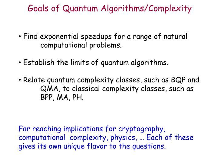 Goals of Quantum Algorithms/Complexity