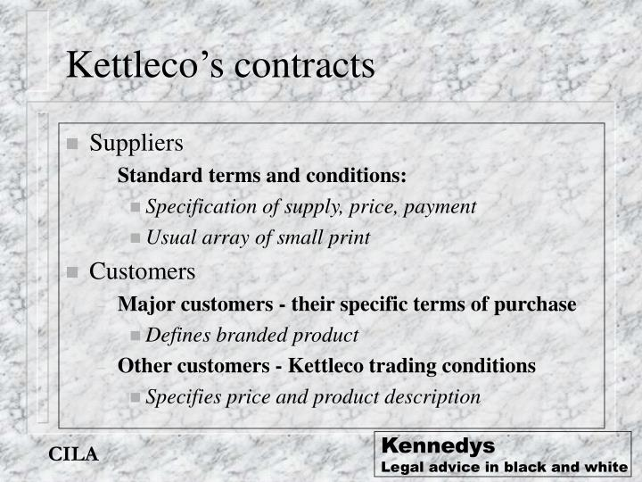 Kettleco's contracts