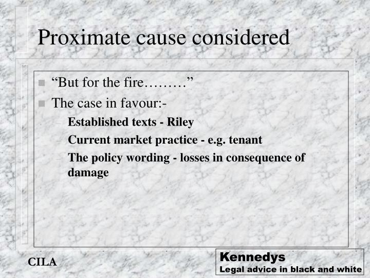 Proximate cause considered