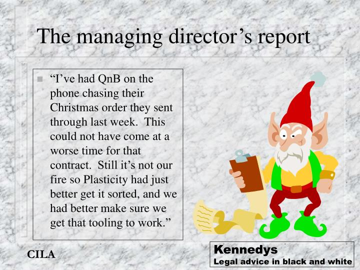The managing director's report