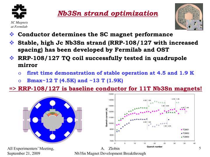 Nb3Sn strand optimization