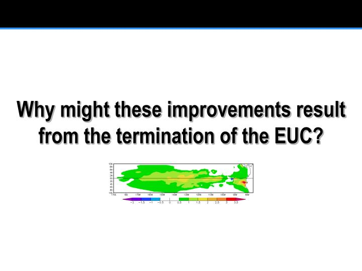 Why might these improvements result from the termination of the EUC?
