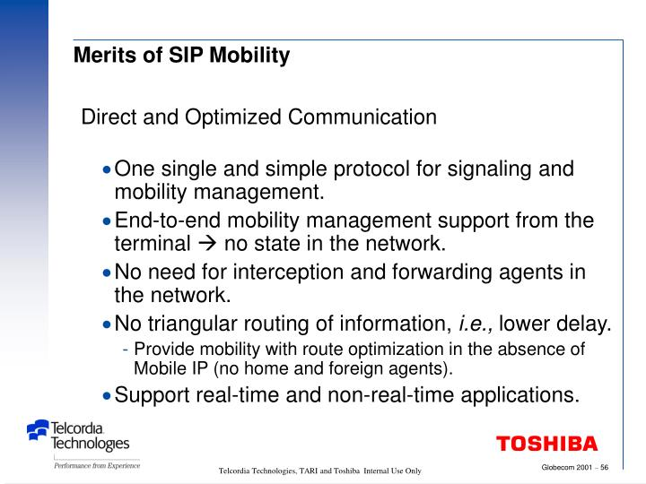 Merits of SIP Mobility