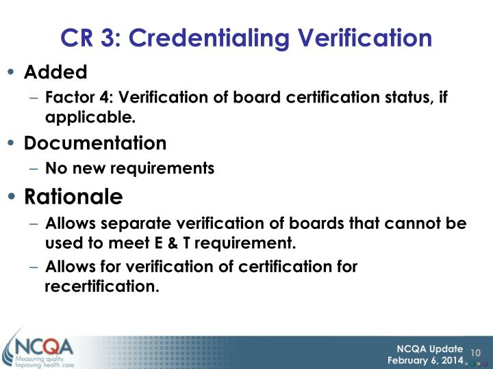 CR 3: Credentialing Verification