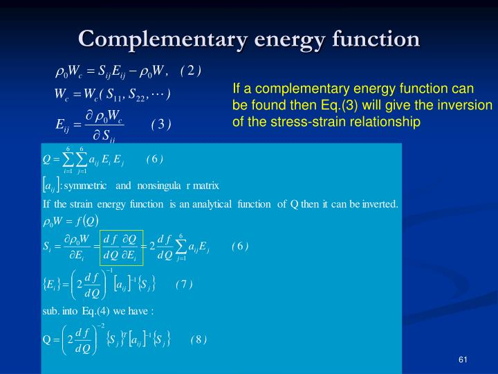 Complementary energy function