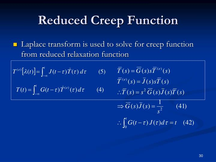 Reduced Creep Function
