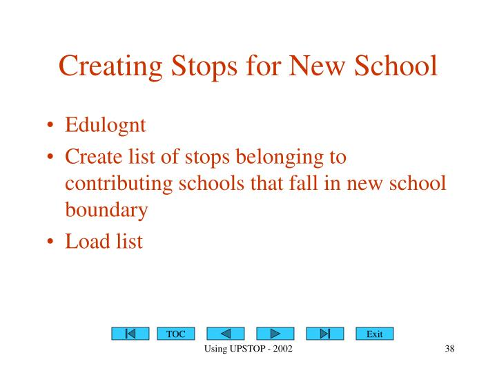 Creating Stops for New School