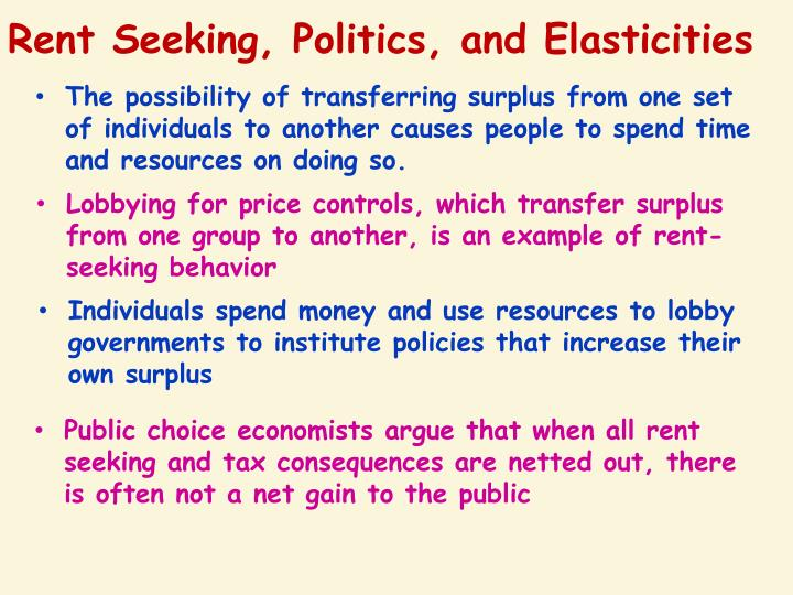 Rent Seeking, Politics, and Elasticities