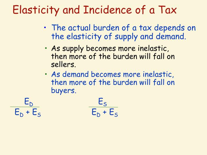 The actual burden of a tax depends on the elasticity of supply and demand.