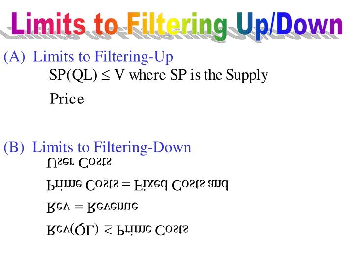 (A)  Limits to Filtering-Up