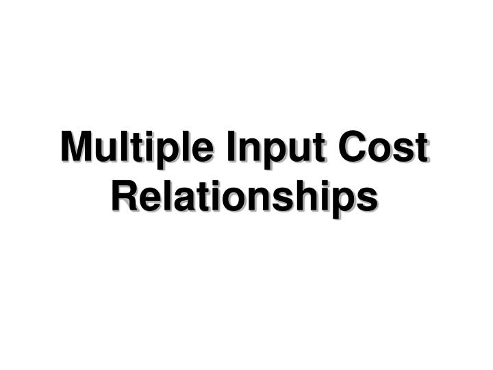 Multiple input cost relationships