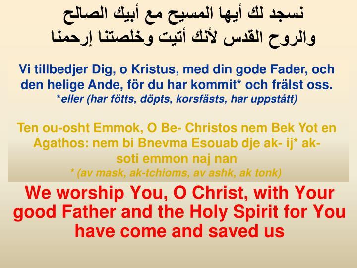 Vi tillbedjer Dig, o Kristus, med din gode Fader, och den helige Ande, för du har kommit* och frälst oss.