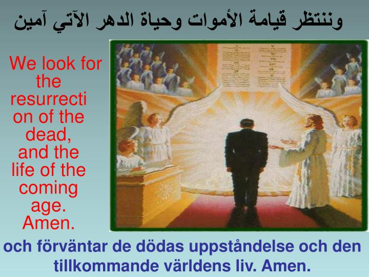 We look for the resurrection of the dead, and the life of the coming age. Amen.