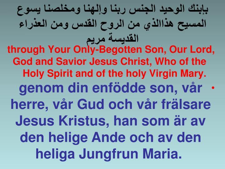 بإبنك الوحيد الجنس ربنا وإلهنا ومخلصنا يسوع المسيح هذاالذي