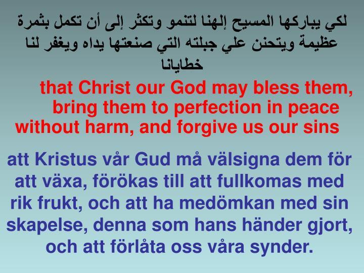لكي يباركها المسيح إلهنا لتنمو وتكثر إلى أن تكمل بثمرة عظيمة ويتحنن علي جبلته التي صنعتها يداه ويغفرلنا خطايانا