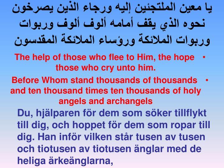 يا معين الملتجئين إليه ورجاء الذين يصرخون نحوه الذي يقف أمامه ألوف ألوف وربوات