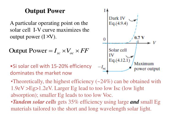 A particular operating point on the solar cell  I-V curve maximizes the output power (I   V).