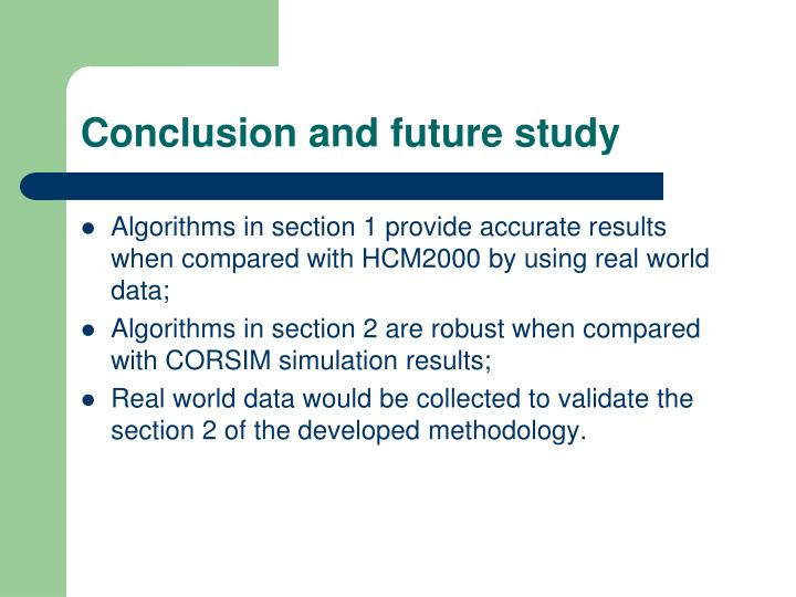 Conclusion and future study