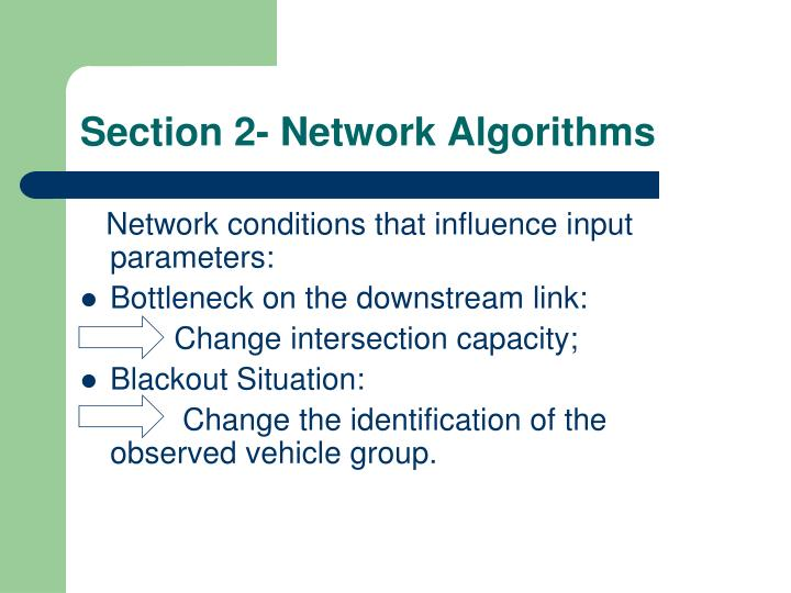 Section 2- Network Algorithms