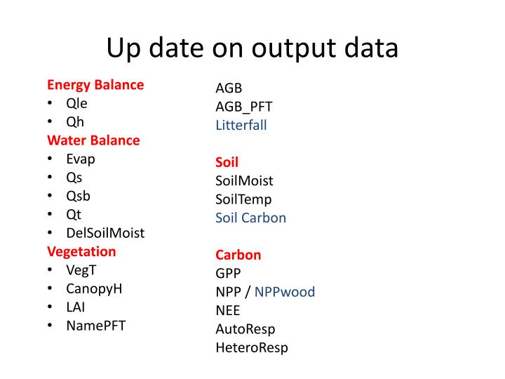 Up date on output data