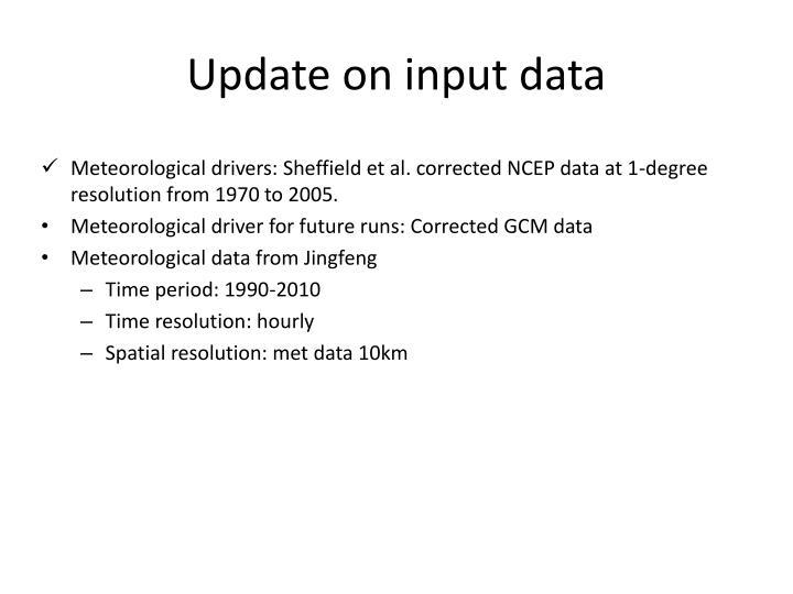 Update on input data