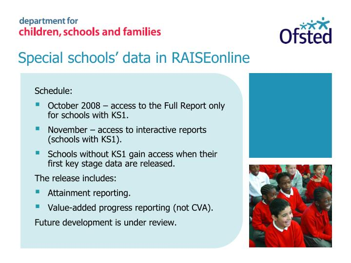Special schools' data in RAISEonline