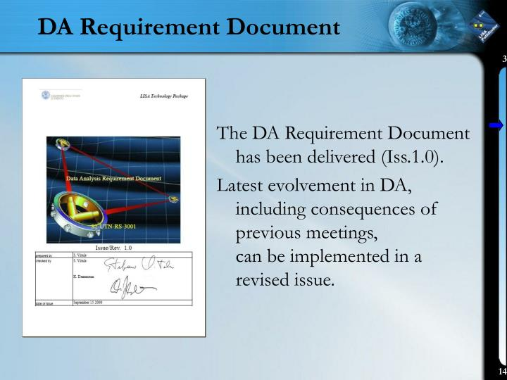 DA Requirement Document