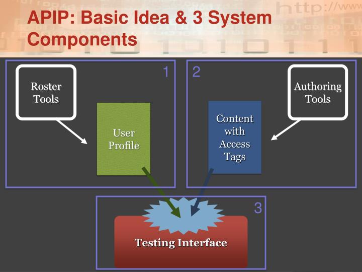 Apip basic idea 3 system components