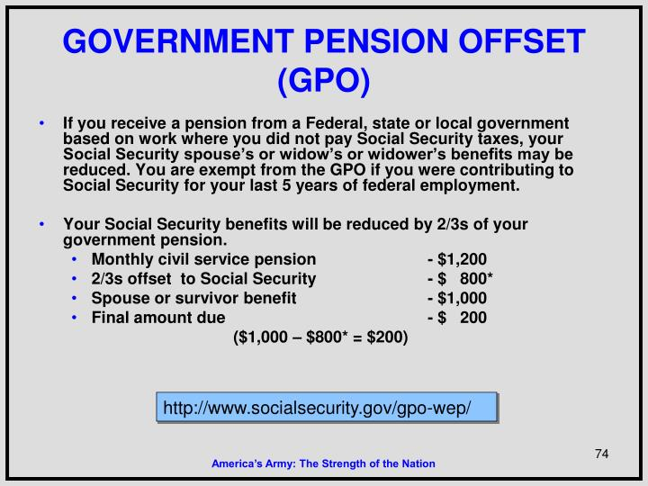 GOVERNMENT PENSION OFFSET (GPO)