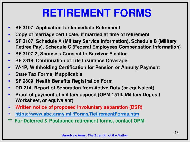 RETIREMENT FORMS