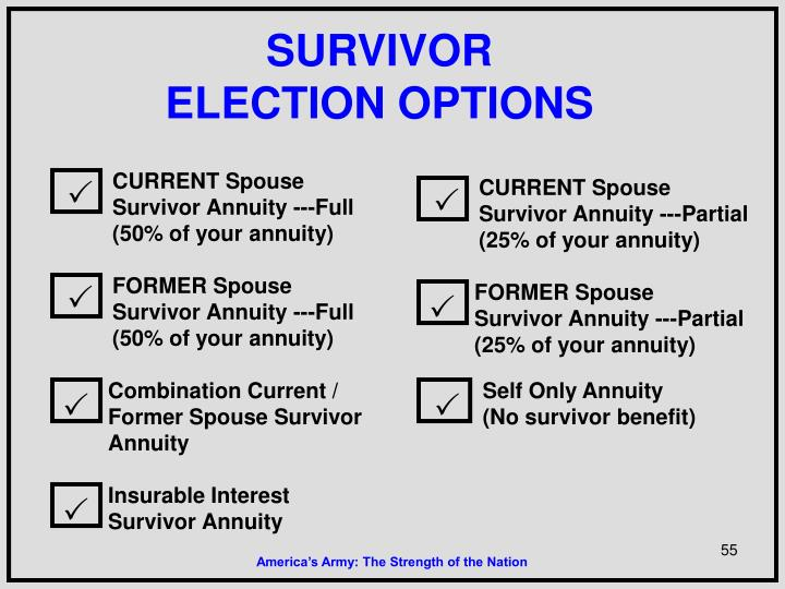 CURRENT Spouse Survivor Annuity ---Partial (25% of your annuity)