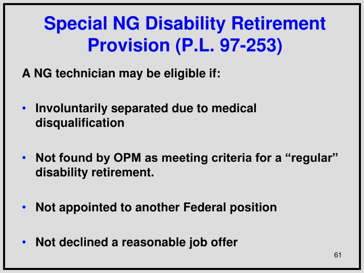 Special NG Disability Retirement Provision (P.L. 97-253)