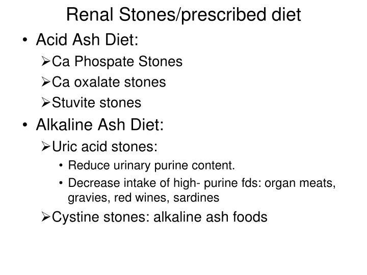 Renal Stones/prescribed diet