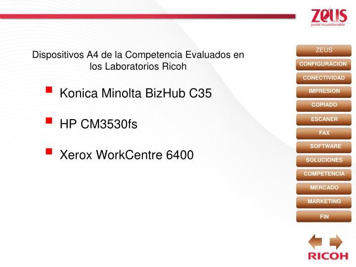 Dispositivos A4 de la Competencia Evaluados en los Laboratorios