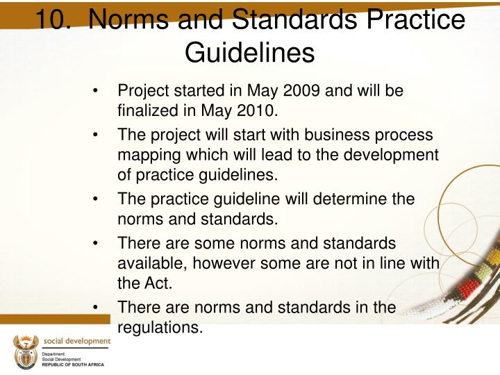 10.  Norms and Standards Practice Guidelines