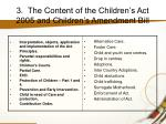 3 the content of the children s act 2005 and children s amendment bill