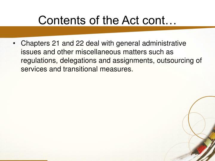 Contents of the Act cont…