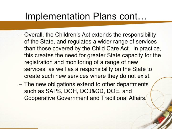 Implementation Plans cont…