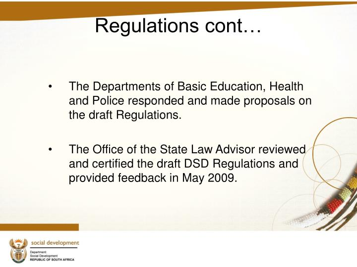 Regulations cont…
