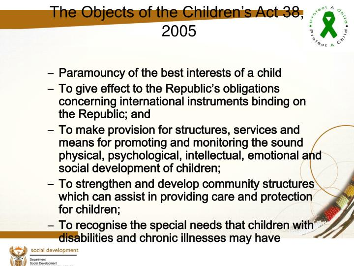 The Objects of the Children's Act 38,