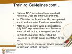 training guidelines cont