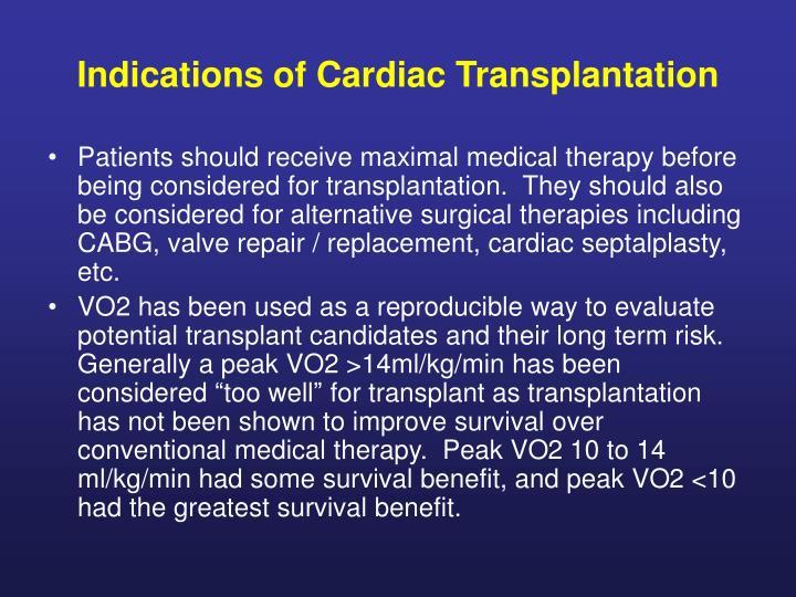 Indications of Cardiac Transplantation