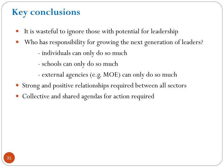 Key conclusions