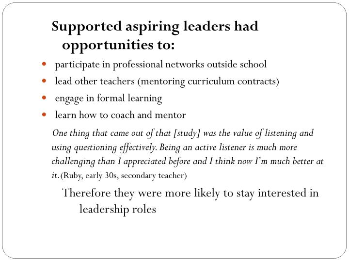 Supported aspiring leaders had opportunities to: