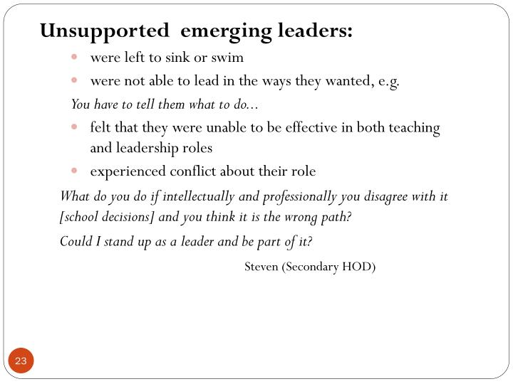 Unsupported  emerging leaders: