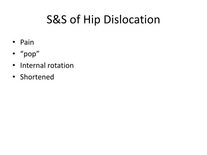 S&S of Hip Dislocation